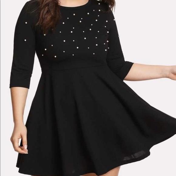 Dress black 95% Polyester, 5% Spandex. Plus size